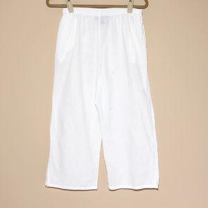 Susan Graver capri pants crinkle cotton Size M